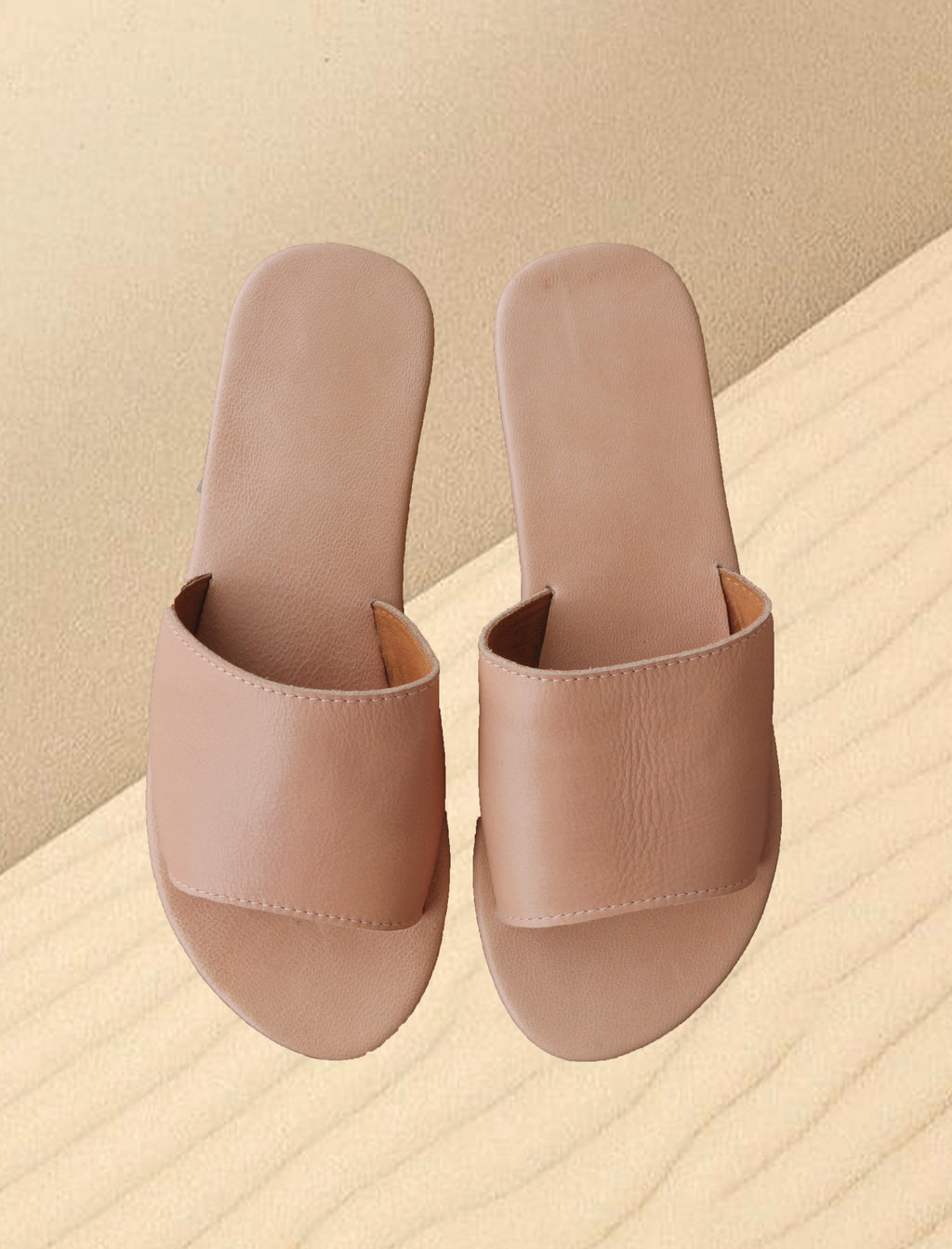 Bay Leather Slides - Iguana