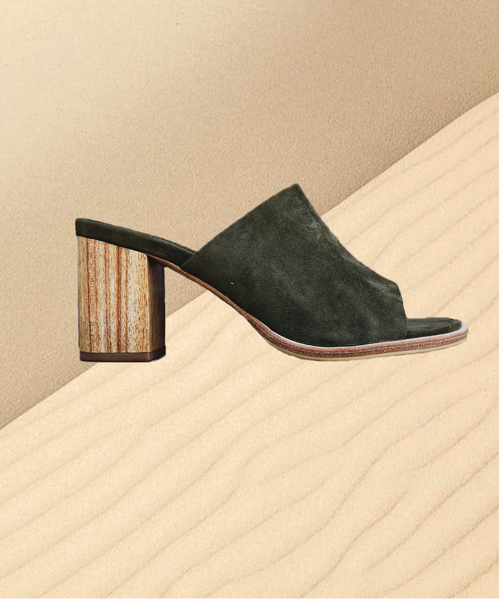 Bay Suede Leather Heels Mules - Iguana
