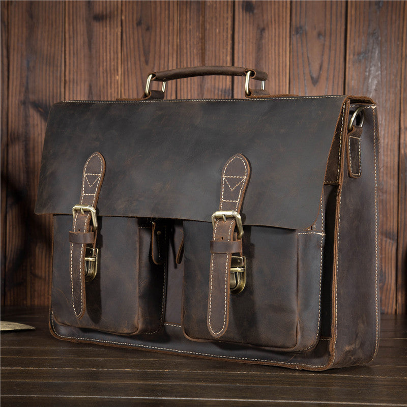 Charlie Leather Briefcase - Iguana