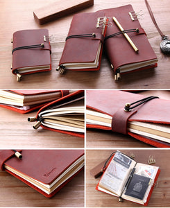 Handmade Refillable Leather Notebook - Iguana