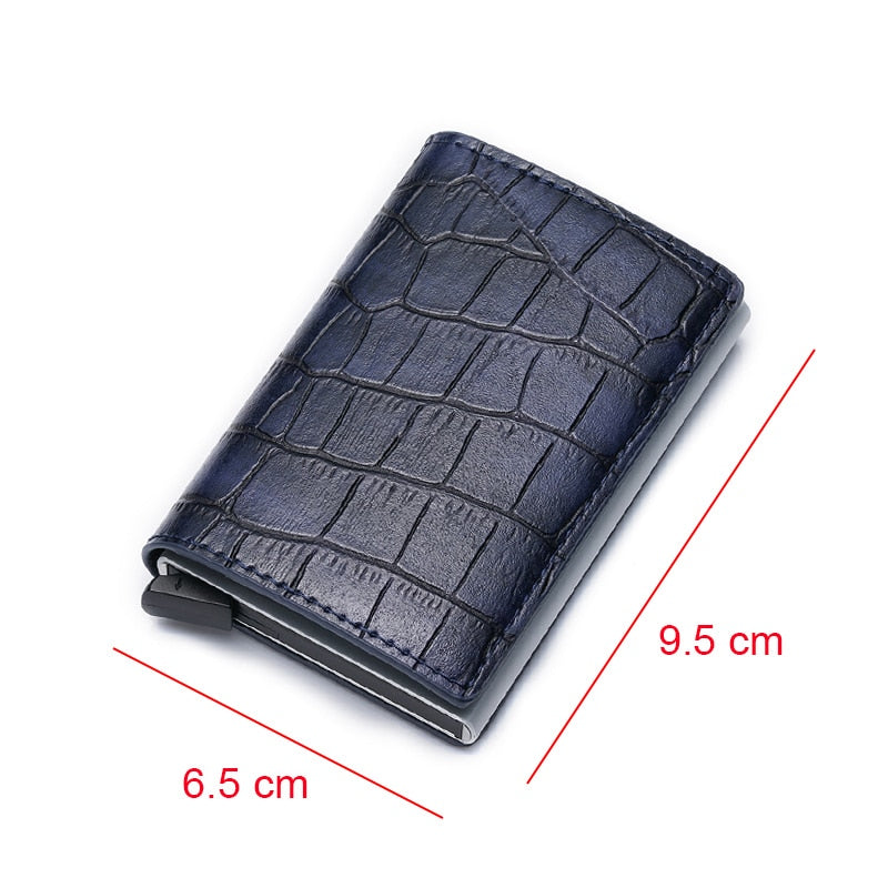 Slim Crocodile Embossed Leather Wallet - Iguana