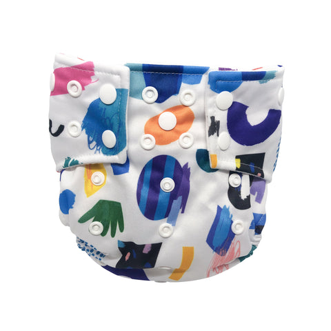 Wynwood Walls Pocket Cloth Diaper with 1 Hemp Insert and 1 Bamboo Cotton Insert with Snaps - Bungies Diapers