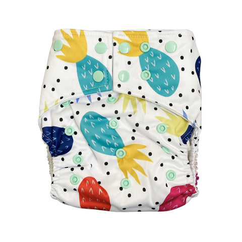 Had me at Aloha Pocket Cloth Diaper with 1 Hemp Insert and 1 Bamboo Cotton Insert with Snaps - Bungies Diapers