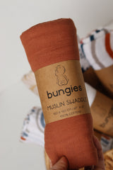 Rust Swaddle Muslin Baby Blanket - Bungies Diapers