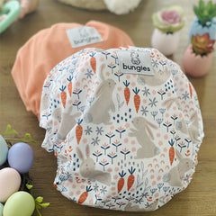 Snuggle Bunny - OPTION 2- Seasonally Inspired Pocket Diaper, Coordinating Solid Diaper and 4 natural Fiber Inserts - Past Subscription April '21 - Bungies Diapers