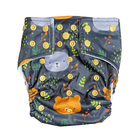 Little Cub Pocket Cloth Diaper with 1 Hemp Insert and 1 Bamboo Cotton Insert with Snaps - Bungies Diapers