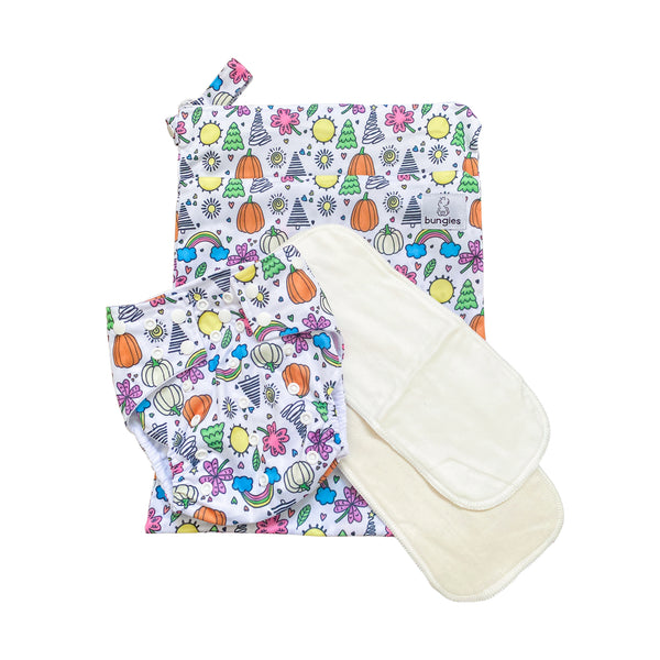 Celebrate Pocket Cloth Diaper and Wetbag Set with 1 Hemp Insert and 1 Bamboo Cotton Insert with Snaps - Bungies Diapers