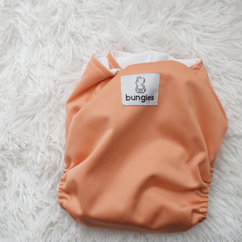 Coral Pocket Cloth Diaper with 1 Hemp Insert and 1 Bamboo Cotton Insert with Snaps