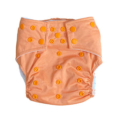 Coral Pocket Cloth Diaper with 1 Hemp Insert and 1 Bamboo Cotton Insert with Snaps - Bungies Diapers