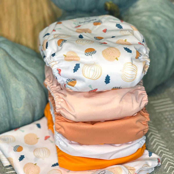 Fall Diaper Pack - 5 Pocket Cloth Diapers Set with 5 Hemp Insert and 5 Bamboo Cotton Inserts and matching wetbag - Bungies Diapers