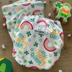 Lucky Charm - Pocket Diaper with 2 Natural Fiber Inserts and Matching Wetbag - PAST SUBSCRIPTION MARCH '21 - Bungies Diapers