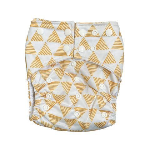 Pyramids Pocket Cloth Diaper with 1 Hemp Insert and 1 Bamboo Cotton Insert with Snaps - SOLD OUT - Bungies Diapers