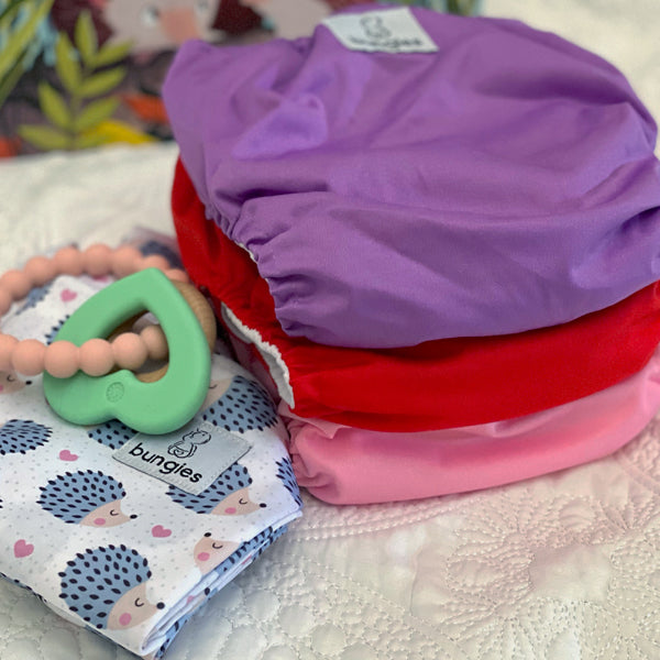 Valentine's Starter Packd with 3 Pocket Diapers, 6 Natural Fiber inserts and Free Wetbag - Bungies Diapers