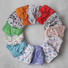 Cloth Diapering Starter Pack - 13 Pocket Diapers, 13 Hemp Inserts, 13 Bamboo Insert Boosters, 7 Wetbags - Bungies Diapers