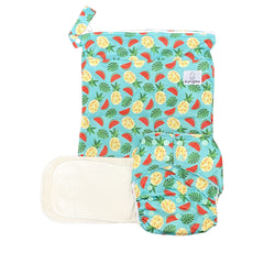 Sweet Summer Pocket Cloth Diaper with 1 Hemp Insert and 1 Bamboo Cotton Insert and Matching Wetbag - JUNE - Bungies Diapers