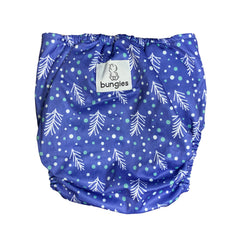 Winter Wishes Pocket Cloth Diaper with 1 Hemp Insert and 1 Bamboo Cotton Insert with Snaps - Bungies Diapers