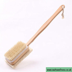 2 in 1 Sided Natural Bristles Loofah Shower Brushes with Wooden Handle Back