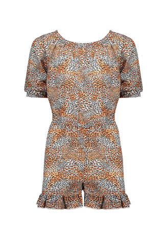 Nobell - Siom short loose fit jumpsuit with fancy ruffle at leg in Leopard AOP 526 - Ginger