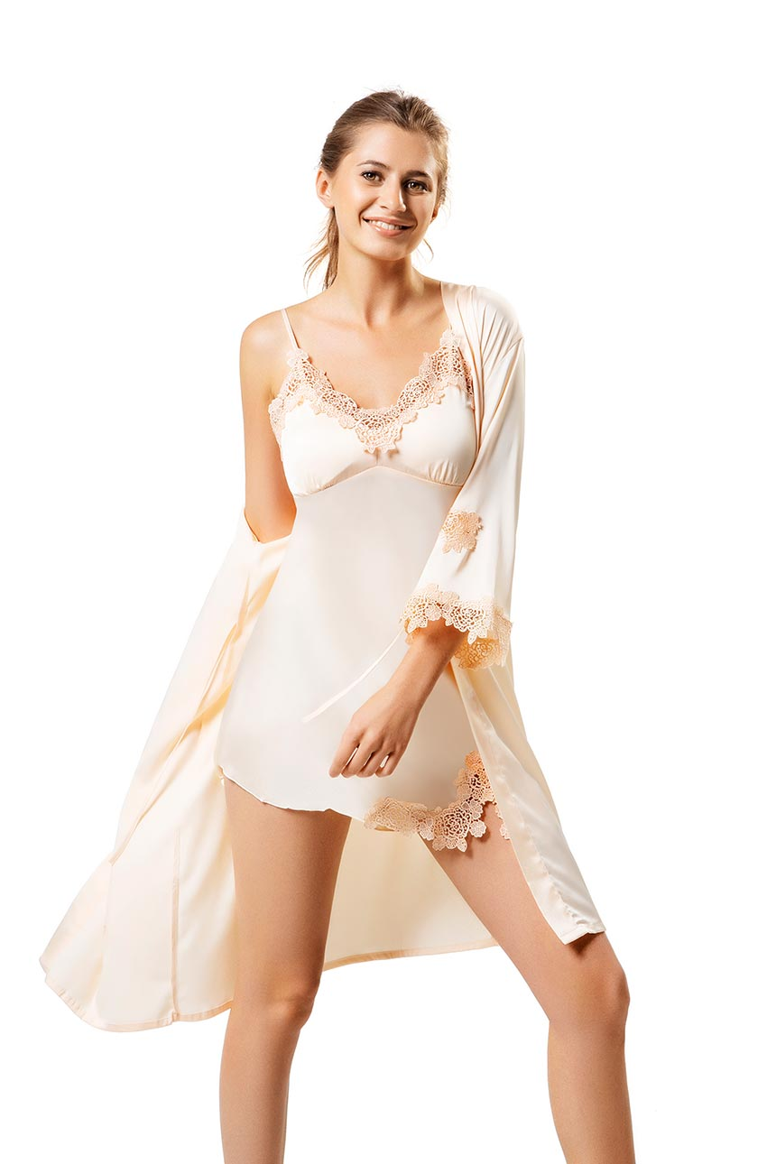 Isabelle Apricot Robe and Chemise Set-Malaya Intimates-Small-Malaya