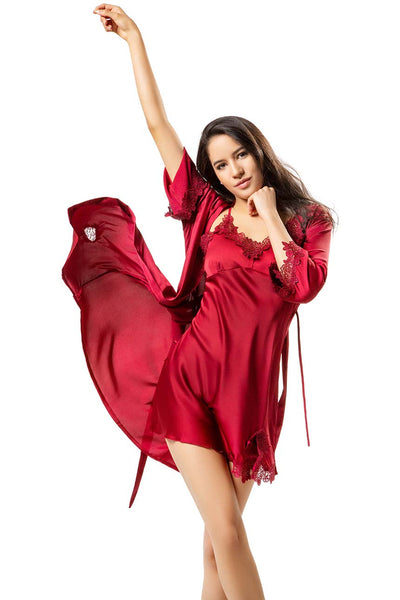 Isabelle Ruby Red Robe and Chemise Set-Malaya Intimates-Small-Malaya