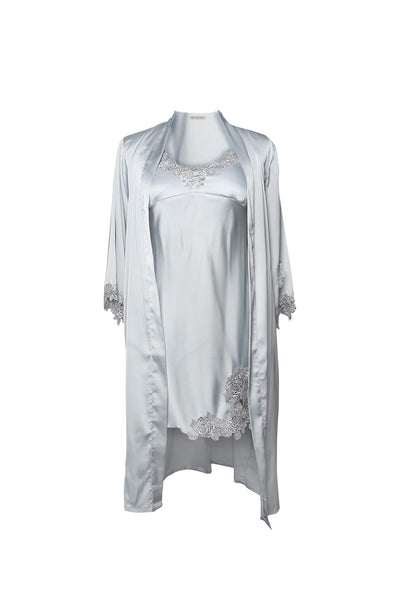 Isabelle Slate Gray Robe and Chemise Set-Malaya Intimates-Small-Malaya