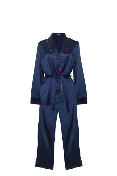 Joyce Navy Blue Pajama Set-Malaya Intimates-Small/Medium-Malaya