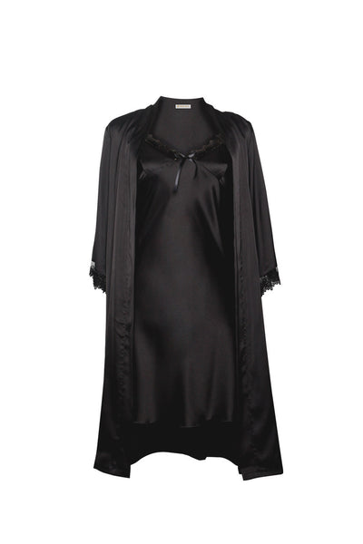 Michelle Black Robe and Chemise Set-Malaya Intimates-Small-Malaya