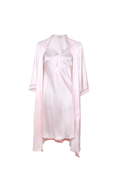 Michelle Pink Robe and Chemise Set-Malaya Intimates-Small-Malaya
