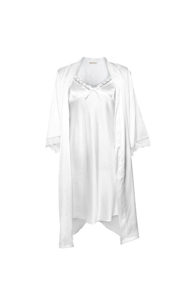 Michelle White Robe and Chemise Set-Malaya Intimates-Small-Malaya