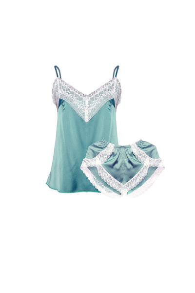 Rachelle Green Cami and Shorts Set-Malaya Intimates-Small-Malaya