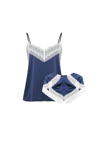 Rachelle Navy Blue Cami and Shorts Set-Malaya Intimates-Small-Malaya