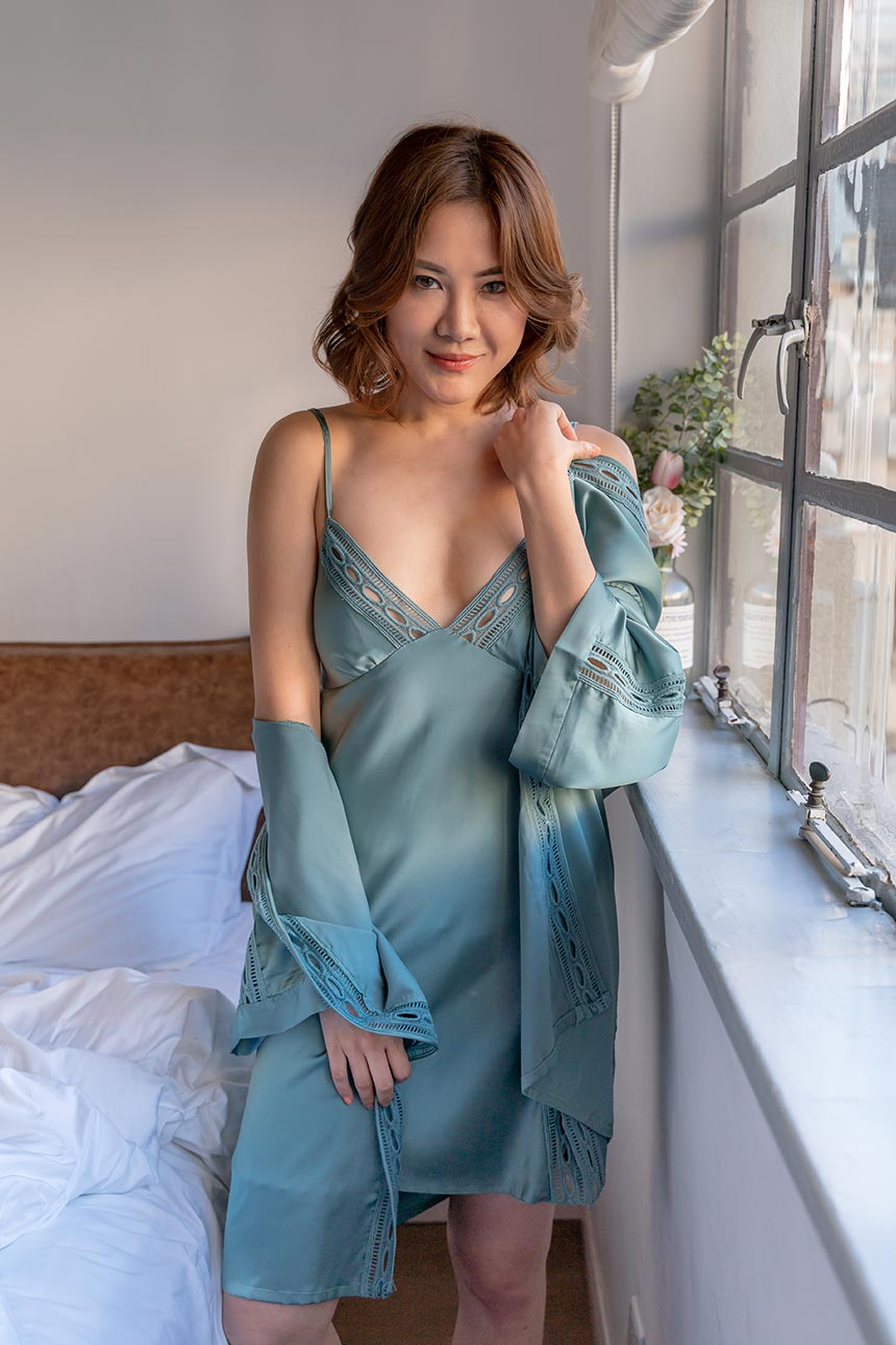Senara Teal Robe and Chemise Set-Malaya Intimates-small-Malaya
