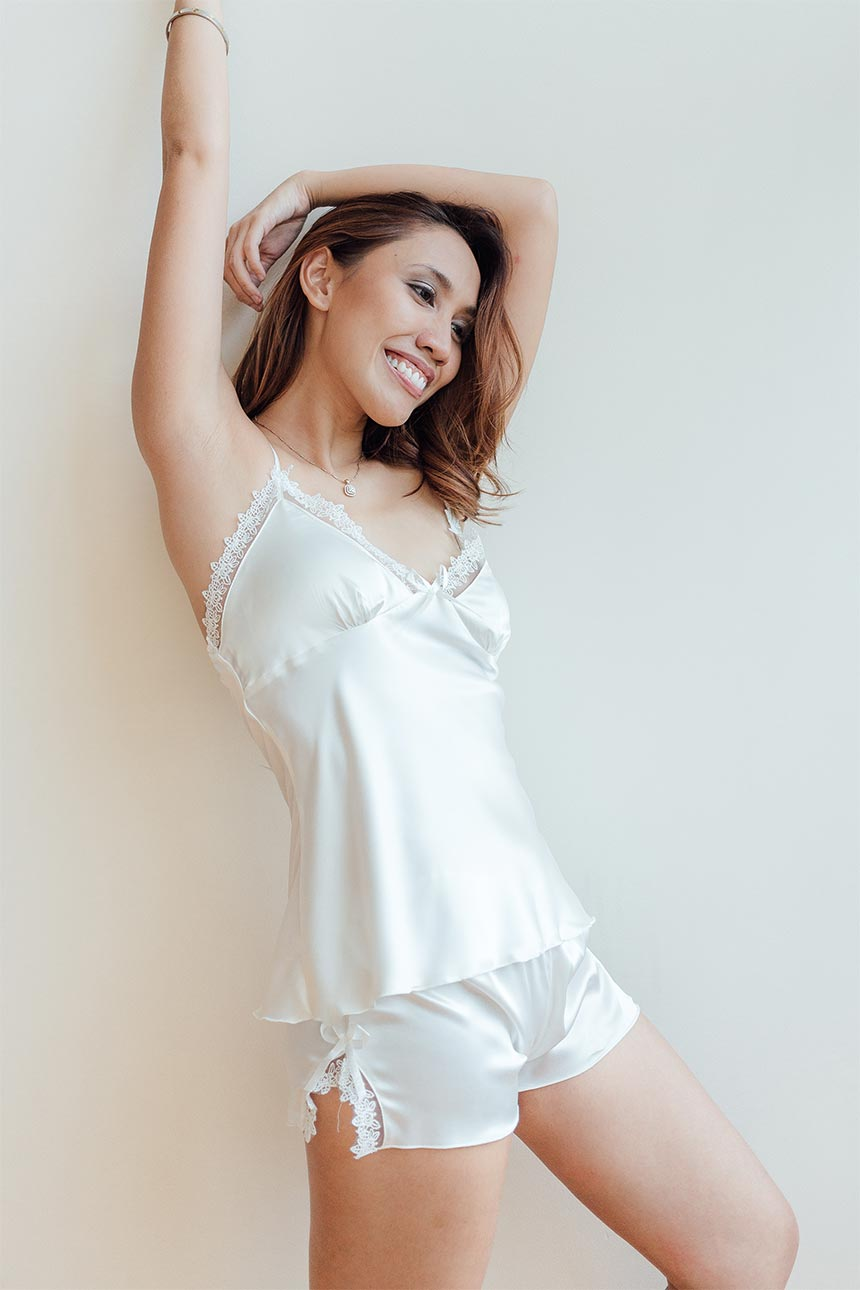 Stella White Cami and Shorts Set-Malaya Intimates-Small-Malaya
