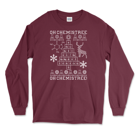 Oh Chemistree, Oh Chemistree! Ugly Christmas Chemistry Mens Long Sleeve