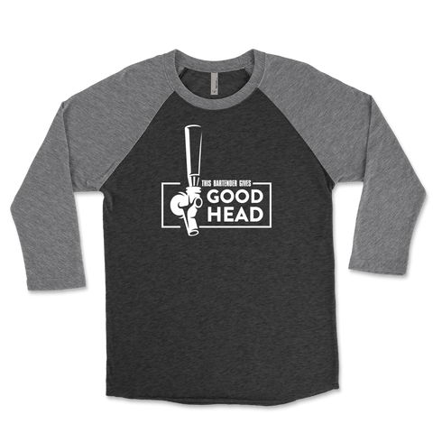 This Bartender Gives Good Head Adult Humor Unisex Triblend Raglan 3/4 Sleeve