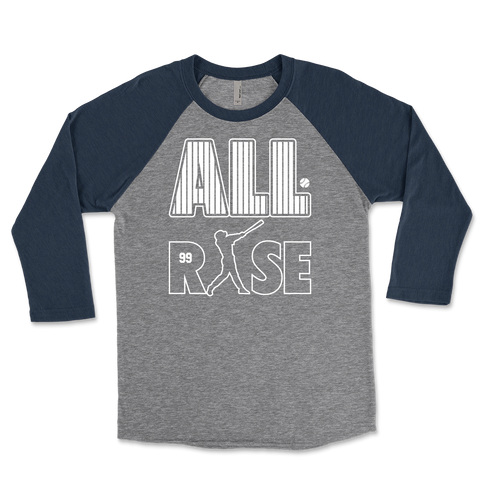 All Rise Baseball Pinstripes Unisex Triblend Raglan 3/4 Sleeve