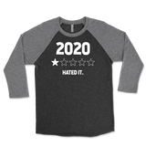 Year 2020 1 Star Rating - Hated It Unisex Triblend Raglan 3/4 Sleeve