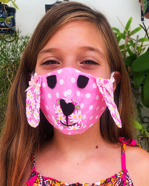 Kids Dog Face Mask by Lillian Banderas