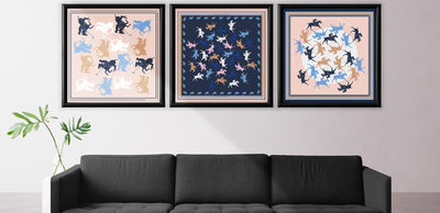 Navy and beige wall decoration with 3 silk scarves.