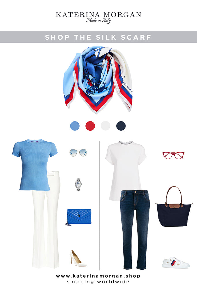 White and blue outfit with luxury scarf with polo design