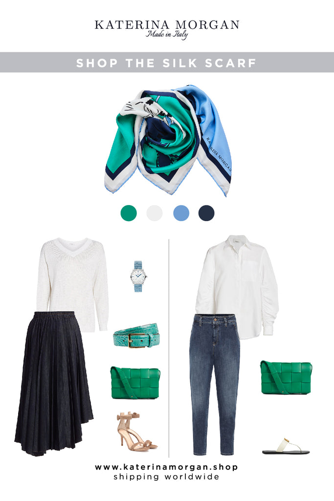 Green silk scarf with denim outfits