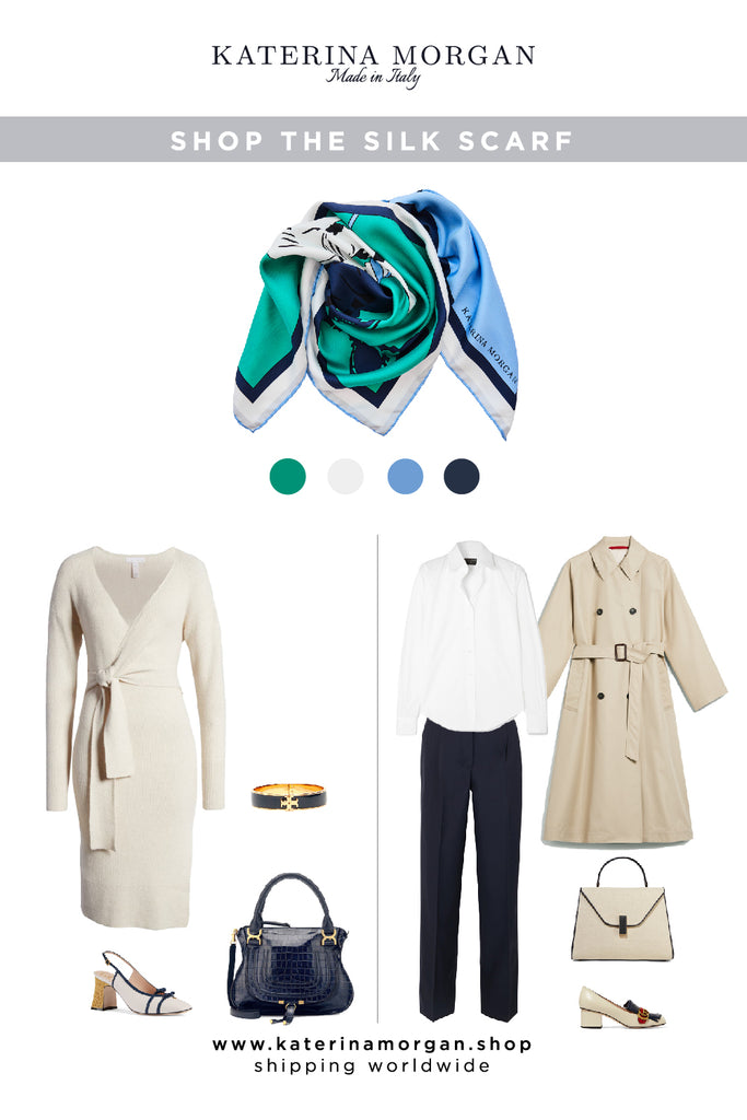Neutral outfit with green and navy accessories