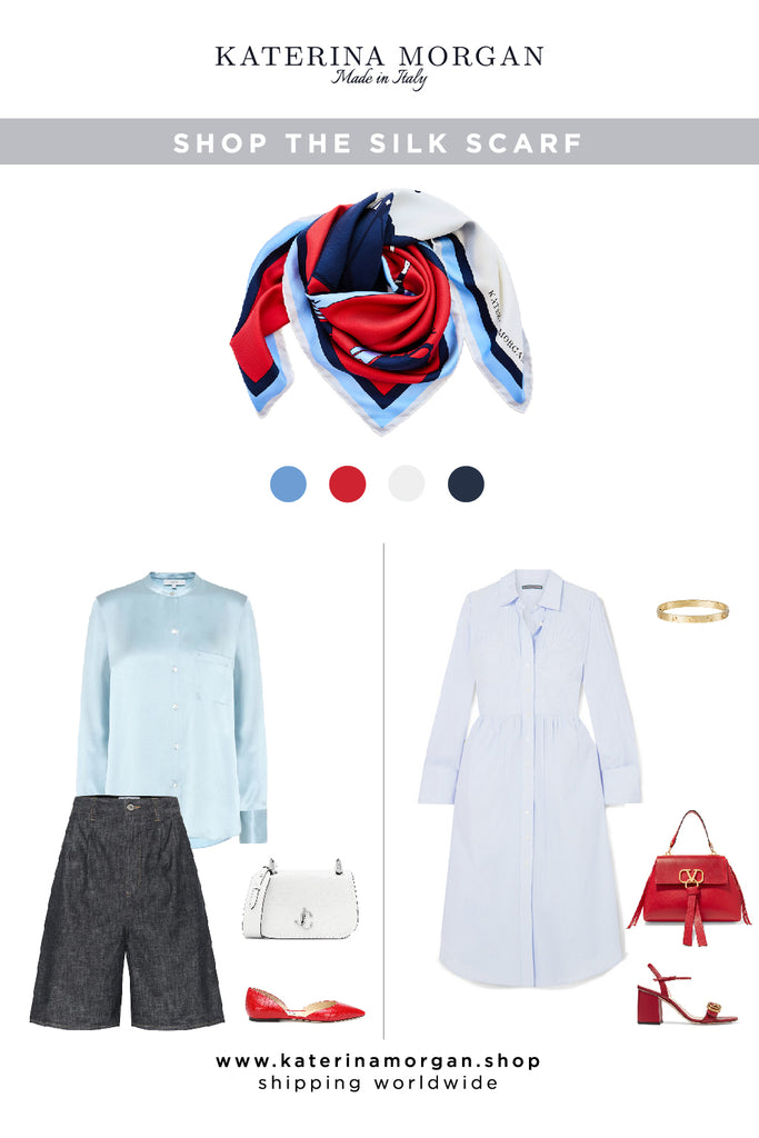 Summer easy-to-wear outfits with red, blue and white silk scarf