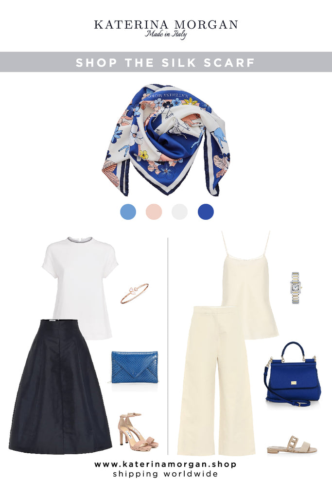 Elegant outfit with floral foulard