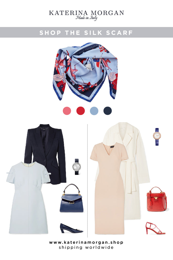 Workwear neutral style with a patterned silk scarf