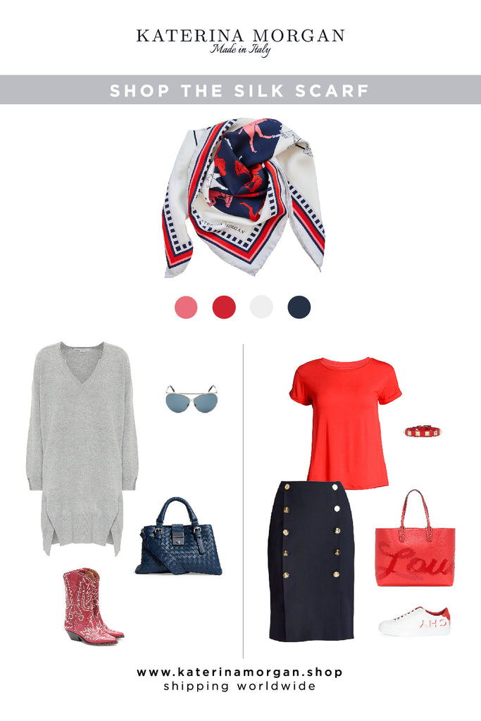 Navy and red outfit with silk scarf