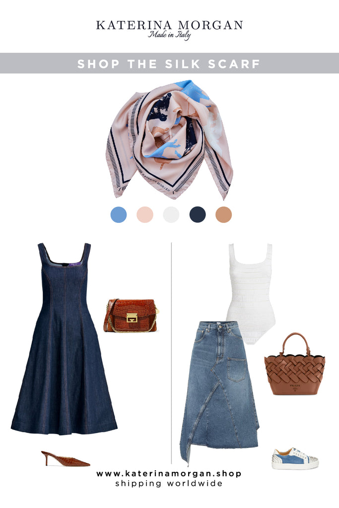 Denim chic with nude and blue equestrian style silk scarf