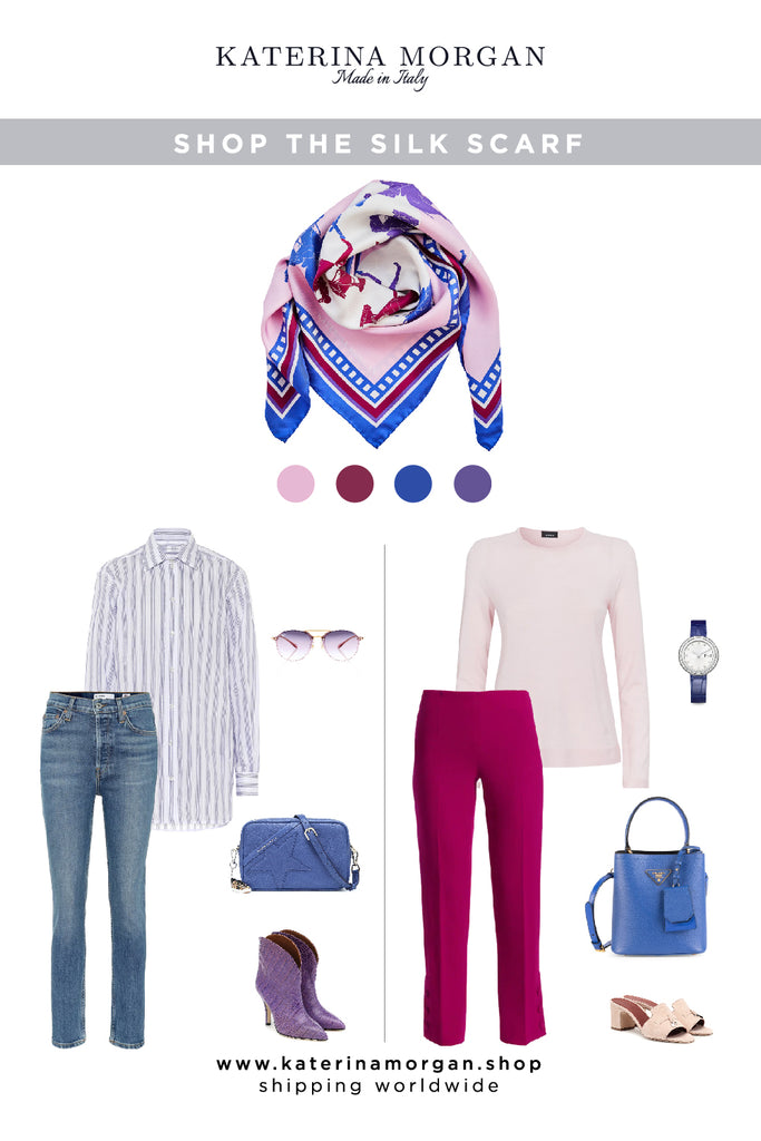 Pink and blue outfits with equestrian theme silk scarf