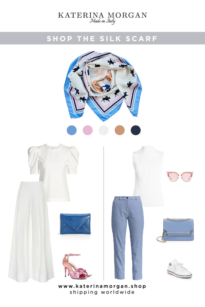 2 summer looks with light blue and pink accessories