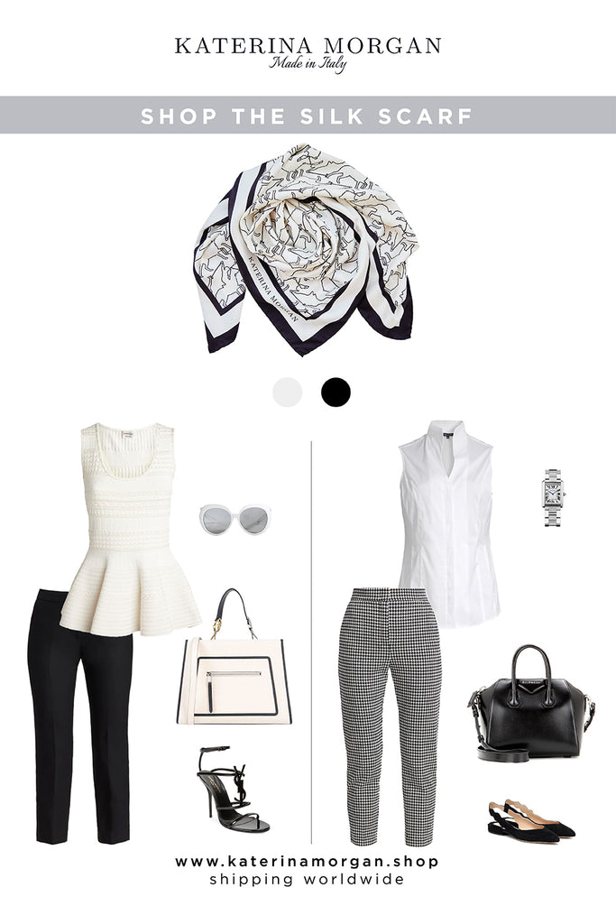 Classic black and white outfit with black and white silk scarf